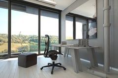 Tabell och stolar i en arkitektonisk inrikesdepartementet Arkivbild