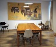 Tabell och stolar i vardagsrum fotografering för bildbyråer