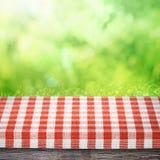 Tabell som picknickbakgrund Fotografering för Bildbyråer