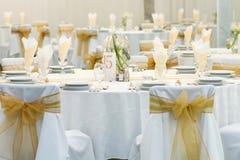 Tabell som ställs in för bröllop Arkivbild