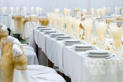Tabell som ställs in för bröllop Arkivfoto