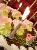 Tabella celebratoria (torta e candele di compleanno) su colore rosso Fotografia Stock Libera da Diritti