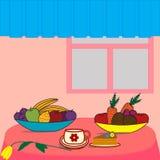 Tabella con alimento Immagini Stock