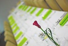 Tabella con il tulipano Fotografia Stock