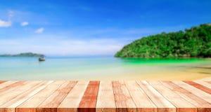 Tabella con la spiaggia vaga Fotografie Stock Libere da Diritti