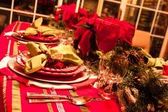 Tabella di cena di Natale Fotografia Stock