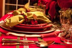 Tabella di cena di Natale Fotografia Stock Libera da Diritti