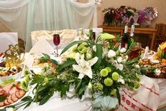 Tabella di cerimonia nuziale con i colori Fotografia Stock Libera da Diritti