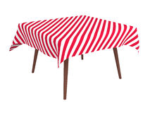 Tabella di legno con il panno a strisce, isolato su bianco Fotografia Stock