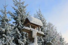 Tabella di legno dell'uccello di inverno della neve Immagine Stock