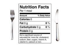 Tabella di nutrizione un pasto da 0 calorie Immagini Stock Libere da Diritti