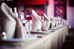 Tabella di pranzo di cerimonia nuziale Fotografie Stock Libere da Diritti