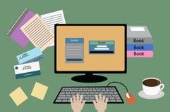 Tabella e computer per lavoro illustrazione vettoriale