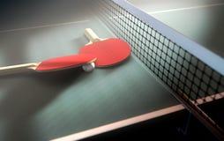 Tabella e pagaie di ping-pong Immagine Stock