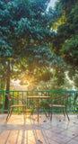 Tabella e sedia sulla piattaforma di legno nel giardino con il tramonto Fotografia Stock Libera da Diritti