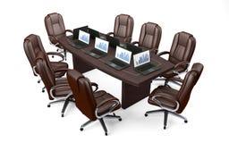 Tabella e sedie di conferenza dell'ufficio della sala del consiglio Fotografia Stock