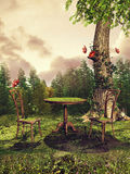 Tabella ed albero con muschio royalty illustrazione gratis