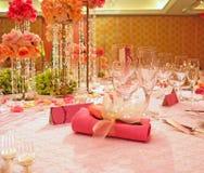 Tabella elegante di cerimonia nuziale Fotografia Stock