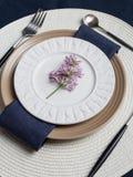 Tabella messa con il ramo lilla per la sera di festa sul fondo bianco immagini stock libere da diritti