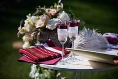 Tabella per cerimonia di nozze Fotografie Stock