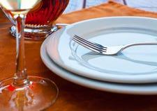 Tabella servita del ristorante Fotografia Stock