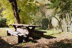 Tabella sparsa con le foglie di autunno Immagine Stock