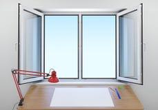 Tabella vicino alla finestra aperta Immagine Stock