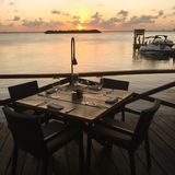 Tabelle bei Sonnenuntergang im Frühjahr Lizenzfreie Stockfotografie