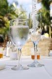 Tabelle der Gläser bei Empfang Lizenzfreies Stockfoto