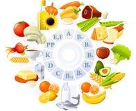 Tabelle der Vitamine Stockfotos