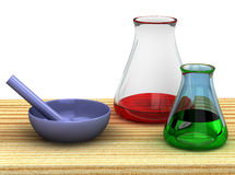 Tabelle des Chemikers 3d mit Reagenzgläsern Stockfotografie