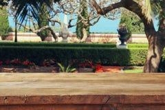 Tabelle des hölzernen Brettes der Weinlese vor romantischer exotischer Gartenlandschaft Stockbilder