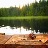 Tabelle des hölzernen Brettes der Weinlese vor träumerischer Seewaldlandschaft lizenzfreie stockbilder