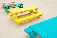 Tabelle di picnic Fotografia Stock