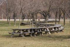 Tabelle di picnic Fotografia Stock Libera da Diritti