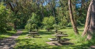 Tabelle di picnic nel parco 2 Fotografia Stock Libera da Diritti