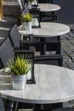 Tabelle e sedie con la pianta e la lanterna su loro fotografia stock libera da diritti