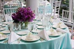 Tabelle eingestellt für eine Party oder eine Funktion Lizenzfreie Stockfotografie