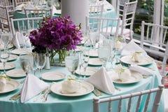 Tabelle eingestellt für einen Hochzeitsempfang Stockbild