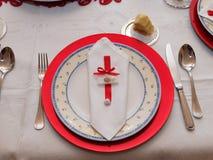 Tabelle eingestellt für Weihnachtsabendessen Stockfoto
