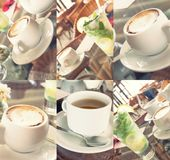 Tabelle für das Sommermittagessen Becher cofee und Glas Stockfotos