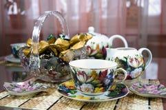 Tabelle für das Teetrinken Lizenzfreies Stockfoto