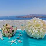 Tabelle für die Hochzeitszeremonie Stockbild