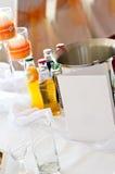 Tabelle am Hochzeitsempfang Stockfoto