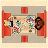 Tabelle im Café für zwei, die Draufsicht stock abbildung
