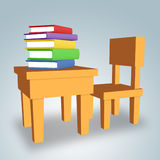 Tabelle mit Büchern stock abbildung