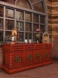 Tabelle mit einer Weinlese coffe Maschine Stockfotos