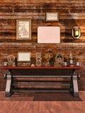 Tabelle mit steampunk Gegenständen Stockfotografie