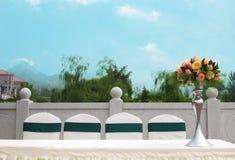 Tabelle stellte für eine Ereignis-Partei oder -Hochzeitsempfang ein Stockfotos