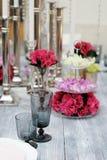 Tabelle eingestellt für Hochzeitsempfang Lizenzfreie Stockfotografie